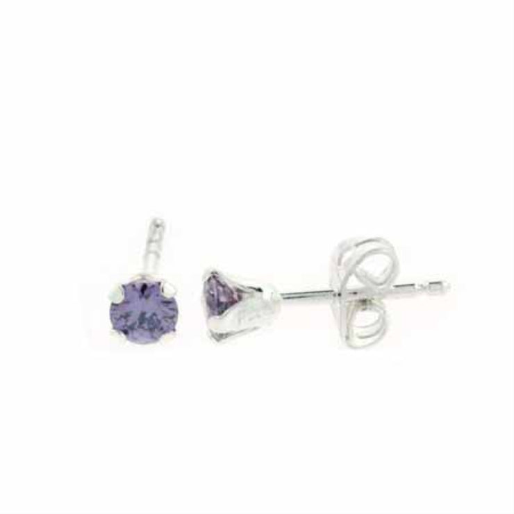 Sterling Silver 4mm Round Amethyst CZ Stud Earrings