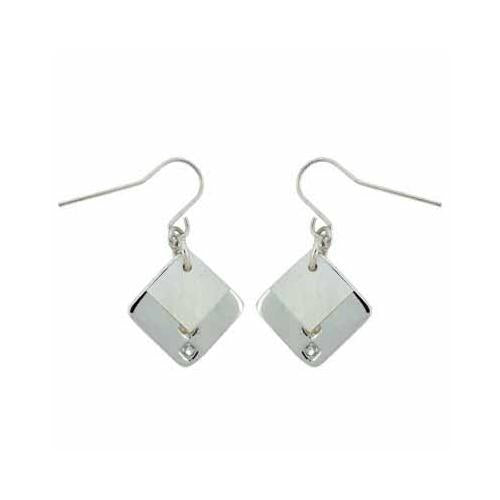 Sterling Silver Mother Of Pearl & CZ Diamond Shaped Earrings