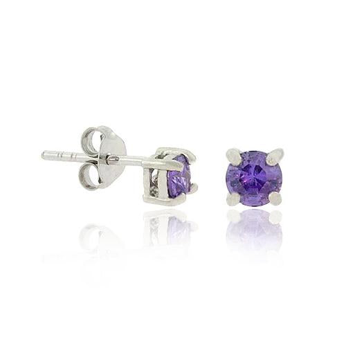 Sterling Silver .925 4mm Created Amethyst cz Stone Small Stud Earrings