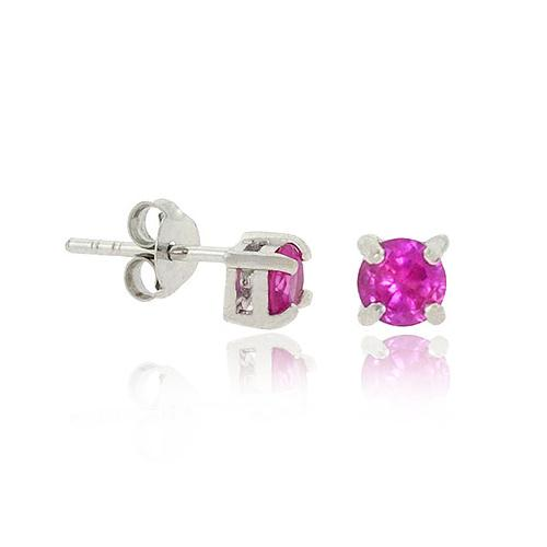 Sterling Silver .925 4mm Hot Pink cz Stone Prong Small Stud Earrings