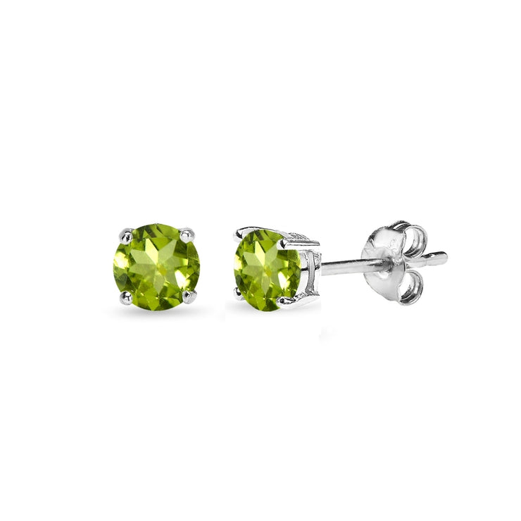 Sterling Silver Peridot 4mm Round-Cut Solitaire Stud Earrings
