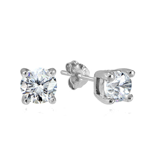 Sterling Silver 1/2ct Cubic Zirconia 4mm Round Stud Earrings