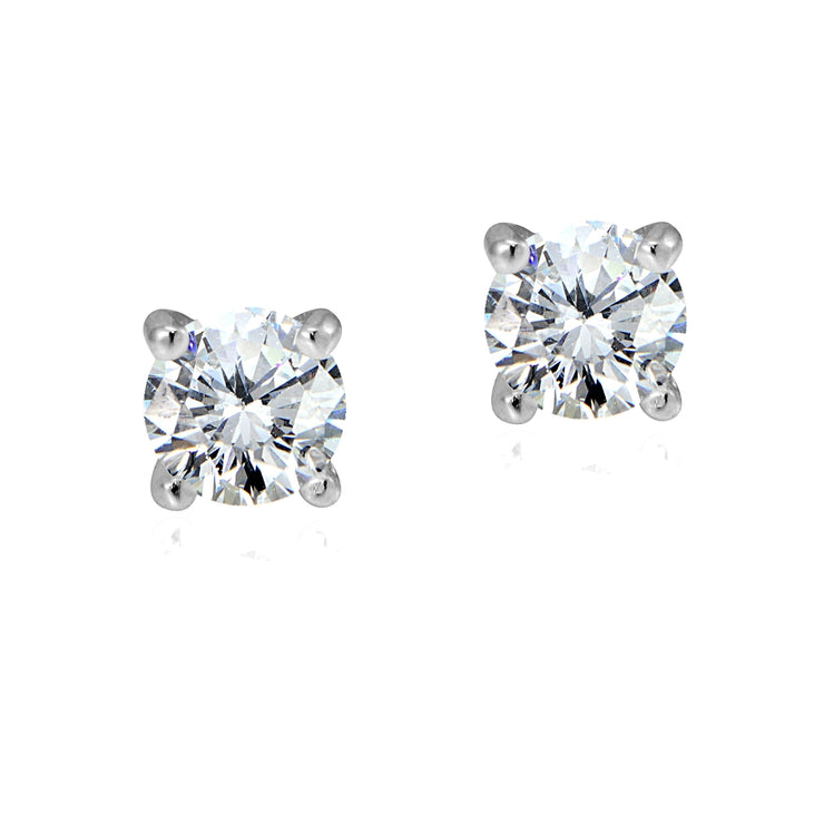 Sterling Silver 1/2 ct Cubic Zirconia 4mm Round Stud Earrings