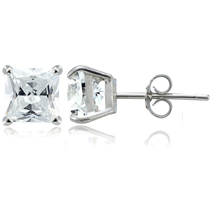 Sterling Silver 2.5ct Cubic Zirconia 6mm Square Stud Earrings
