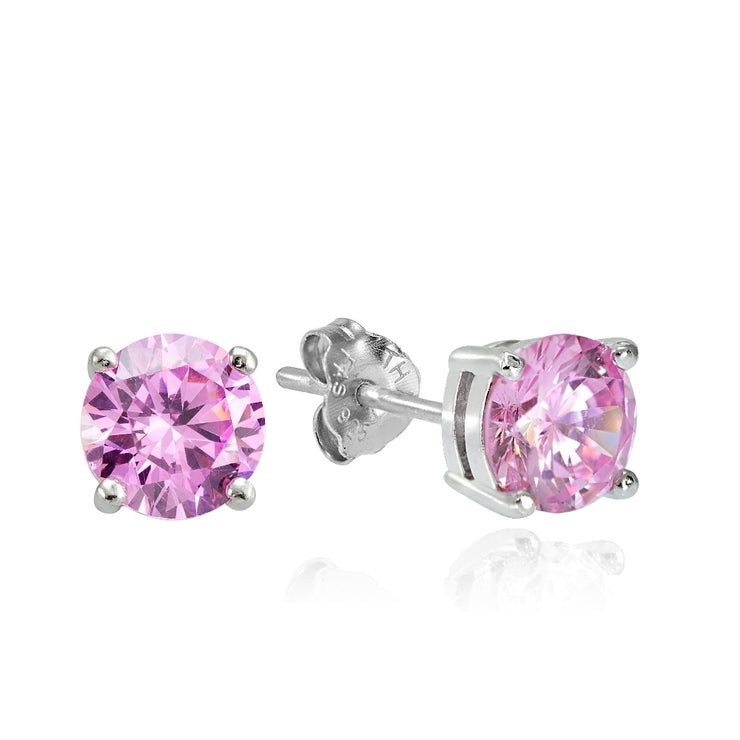 Sterling Silver 2ct Light Pink Cubic Zirconia 6.5mm Round Stud Earrings