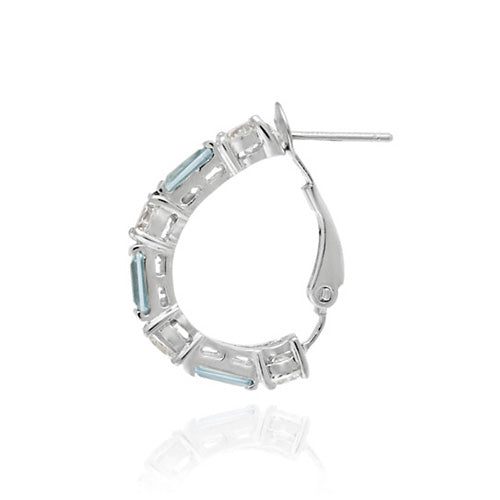 Sterling Silver Aquamarine CZ and CZ Omega Hoop Earrings