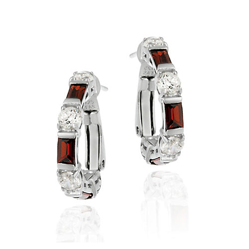 Sterling Silver Red & White CZ Hoop Earrings