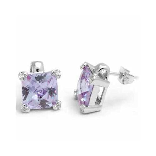Sterling Silver Lavender CZ Square Stud Earrings, 10mm