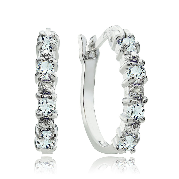 Sterling Silver Aquamarine & Diamond Accent Hoop Earrings
