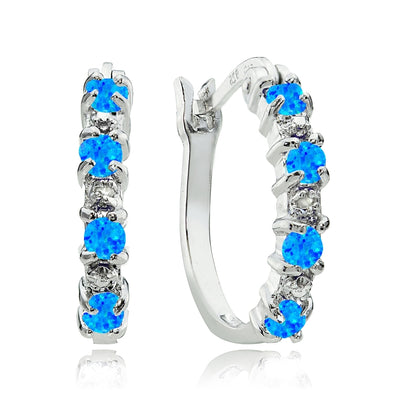 Sterling Silver Created Blue Opal and Diamond Accent Hoop Earrings