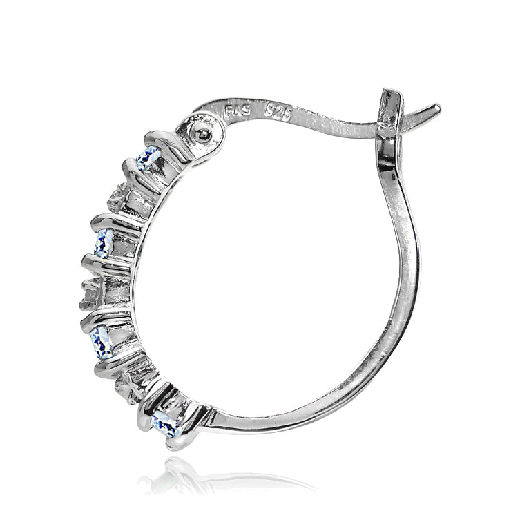 Sterling Silver Blue Topaz & Diamond Accent Hoop Earrings