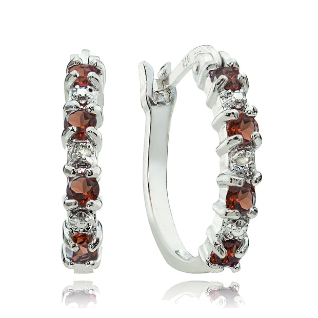 Sterling Silver Garnet and Diamond Accent Hoop Earrings