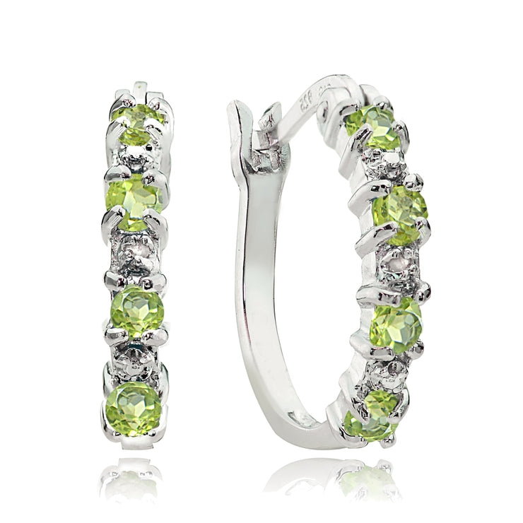Sterling Silver Peridot and Diamond Accent Hoop Earrings