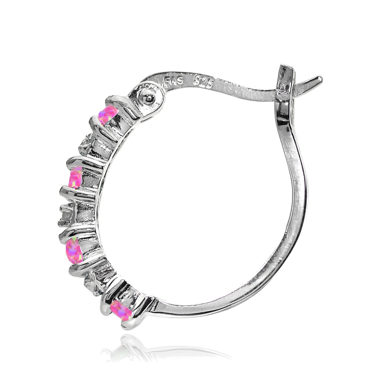 Sterling Silver Created Pink Opal and Diamond Accent Hoop Earrings