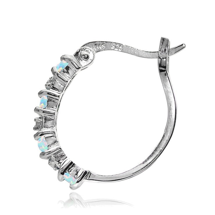 Sterling Silver Created Opal and Diamond Accent Hoop Earrings