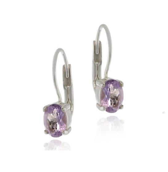 Sterling Silver Amethyst Oval Lever-Back Earrings