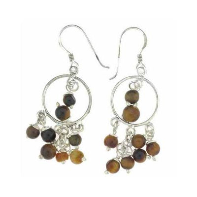Sterling Silver Tiger Eye Beads Chandelier Earrings