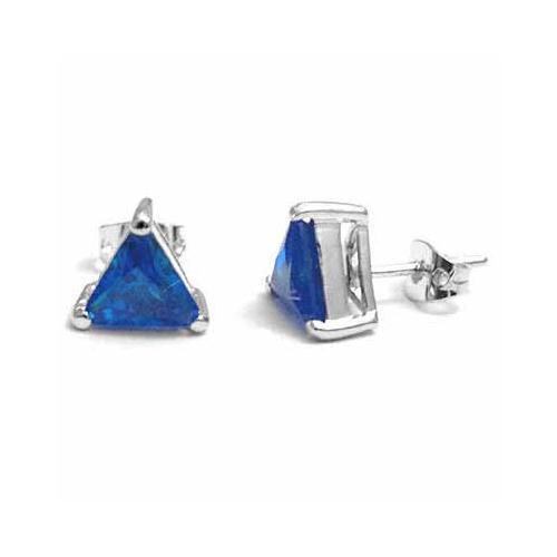 Large Blue Created Tanzanite CZ Triangle Studs Silver Earrings