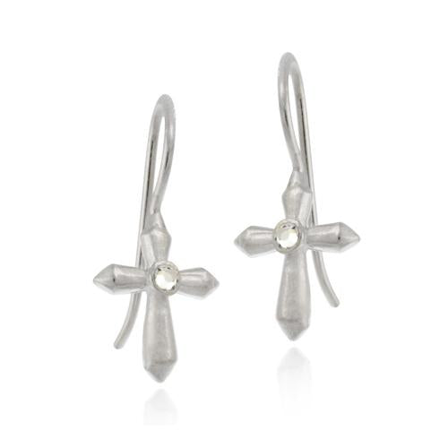 Sterling Silver CZ Cross Drop Earrings