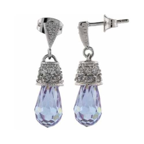 Sterling Silver Lavender & White CZ Raindrop Earrings