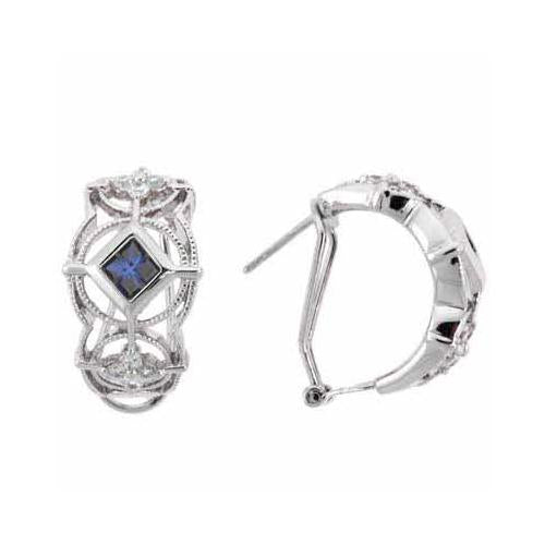 Sterling Silver Tanzanite & White CZ filigree Half Hoop Earrings