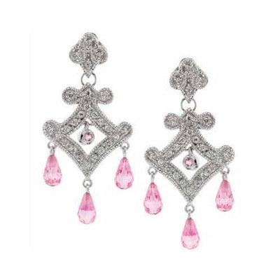 Sterling Silver Pink & White CZ Chandelier Earrings