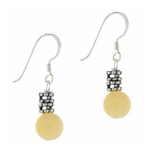 Sterling Silver Aragonite Bali Bead Dangle Earrings