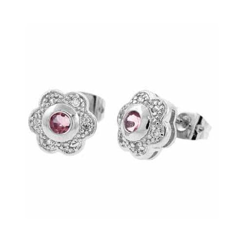 Sterling Silver Pink & White CZ Flower Stud Earrings