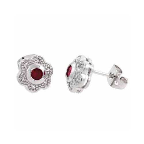 Sterling Silver Red & White CZ Flower Stud Earrings