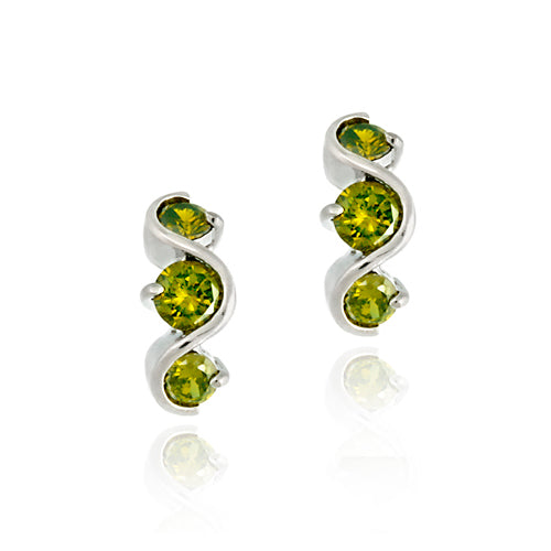 Sterling Silver Olive Green CZ Three Stone S Earrings