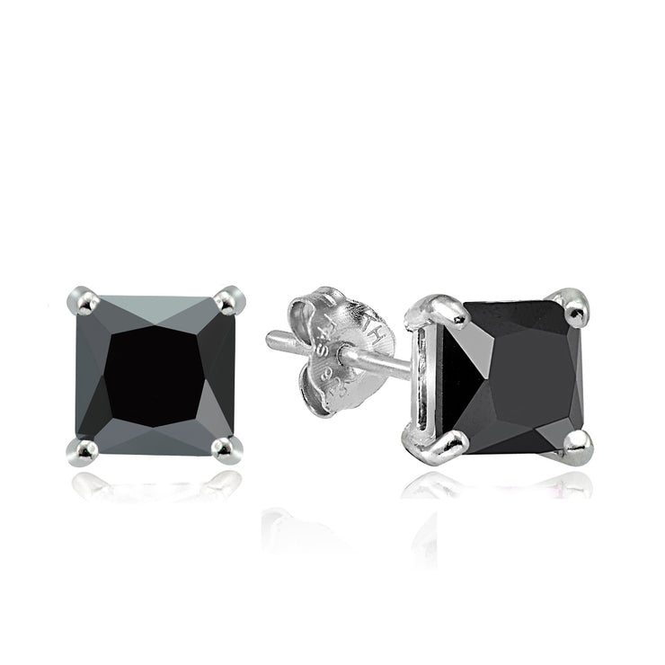 Sterling Silver 4ct Black Cubic Zirconia 7mm Square Stud Earrings