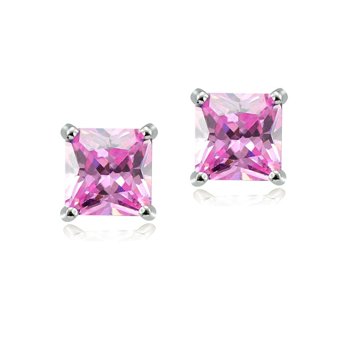Sterling Silver 4ct Light Pink Cubic Zirconia 7mm Square Stud Earrings