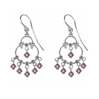 Sterling Silver Amethyst CZ & Purple Swarovski Elements Chandelier Earrings