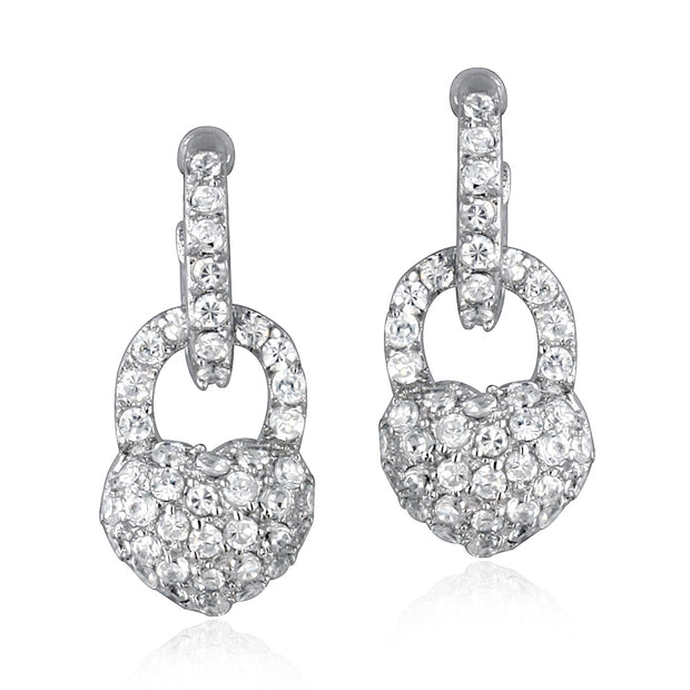 Sterling Silver CZ Heart Padlock Earrings