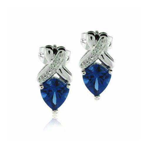 Sterling Silver Created Tanzanite CZ X Earrings