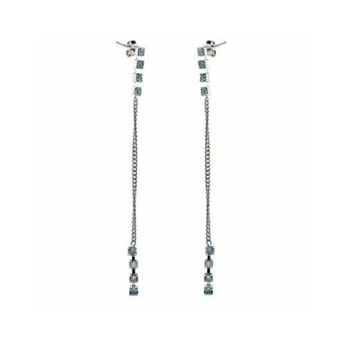 Sterling Silver Aquamarine CZ Stiletto Earrings