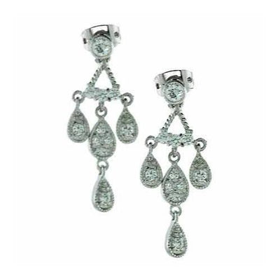 Sterling Silver CZ Teardrop Chandelier Earrings