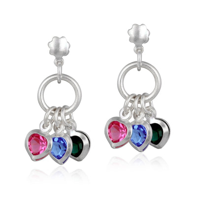 Sterling Silver Multi-Color CZ Hearts Dangle Earrings