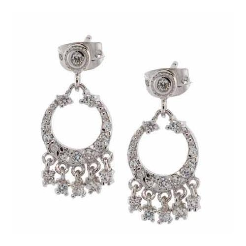 Sterling Silver CZ Mini Chandelier Earrings