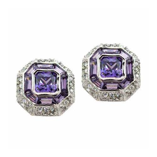 Sterling Silver Amethyst and Colorless CZ Modern Octagon Earrings