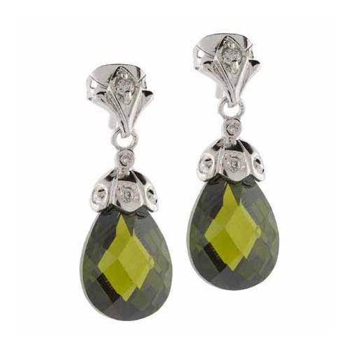 Sterling Silver Olive Green CZ Raindrop Earrings
