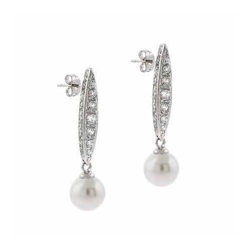 Sterling Silver CZ & Created White Pearl Dangle Earrings