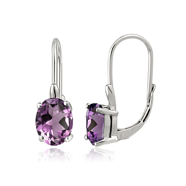 Sterling Silver Simulated Alexandrite 8x6mm Oval Leverback Earrings