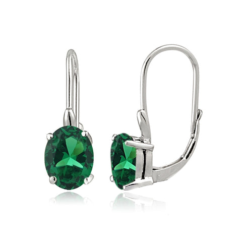 Sterling Silver Simulated Emerald 8x6mm Oval Leverback Earrings