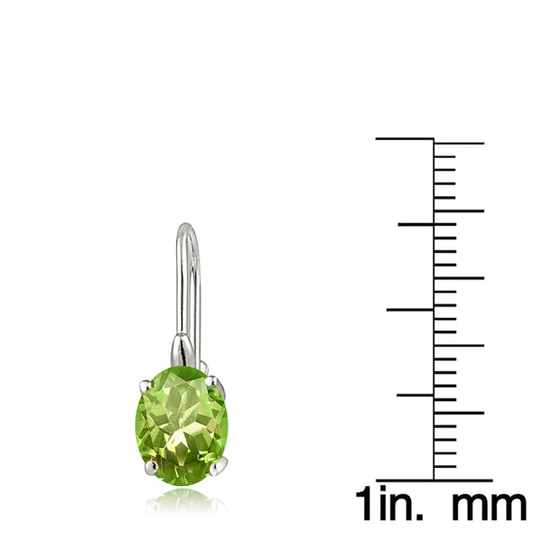 Sterling Silver Peridot 8x6mm Oval Leverback Earrings