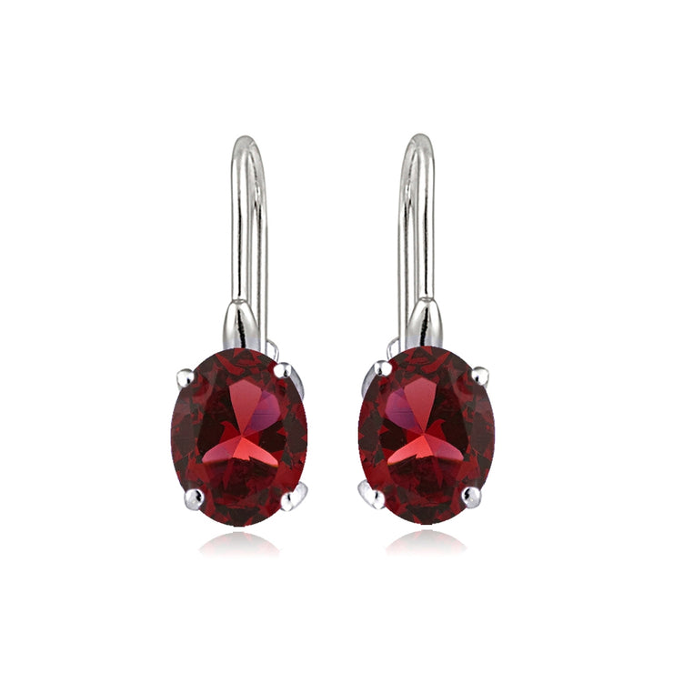 Sterling Silver Created Ruby 8x6mm Oval Leverback Earrings