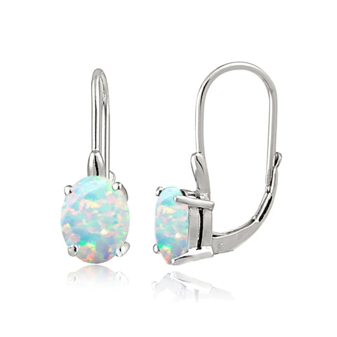 Sterling Silver Simulated Opal 8x6mm Oval Leverback Earrings