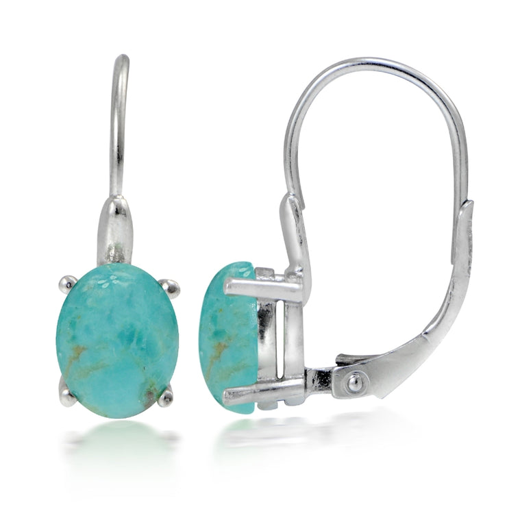 Sterling Silver Created Turquoise Oval Leverback Earrings