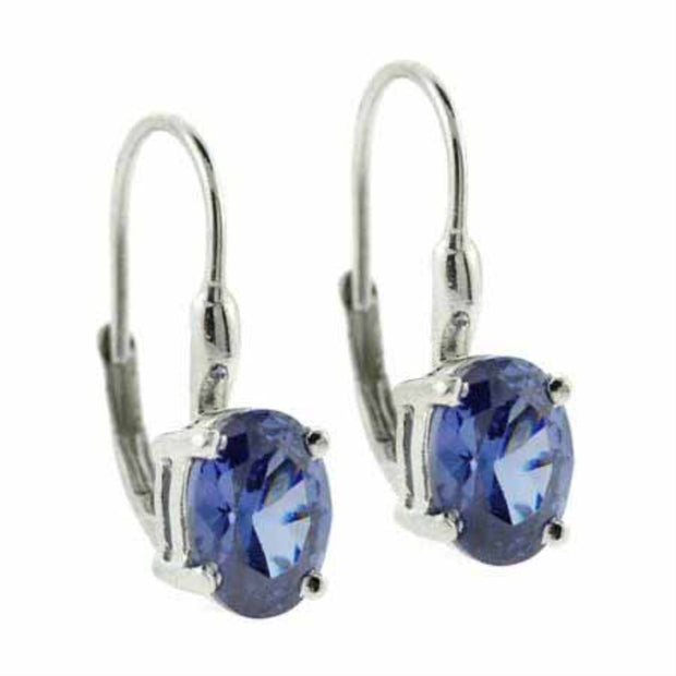 Sterling Silver Simulated Tanzanite Oval Lever-Back Earrings