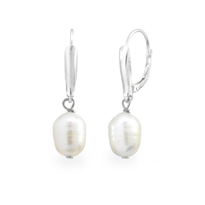 Sterling Silver White Freshwater Cultured Pearl Lever-Back Earrings